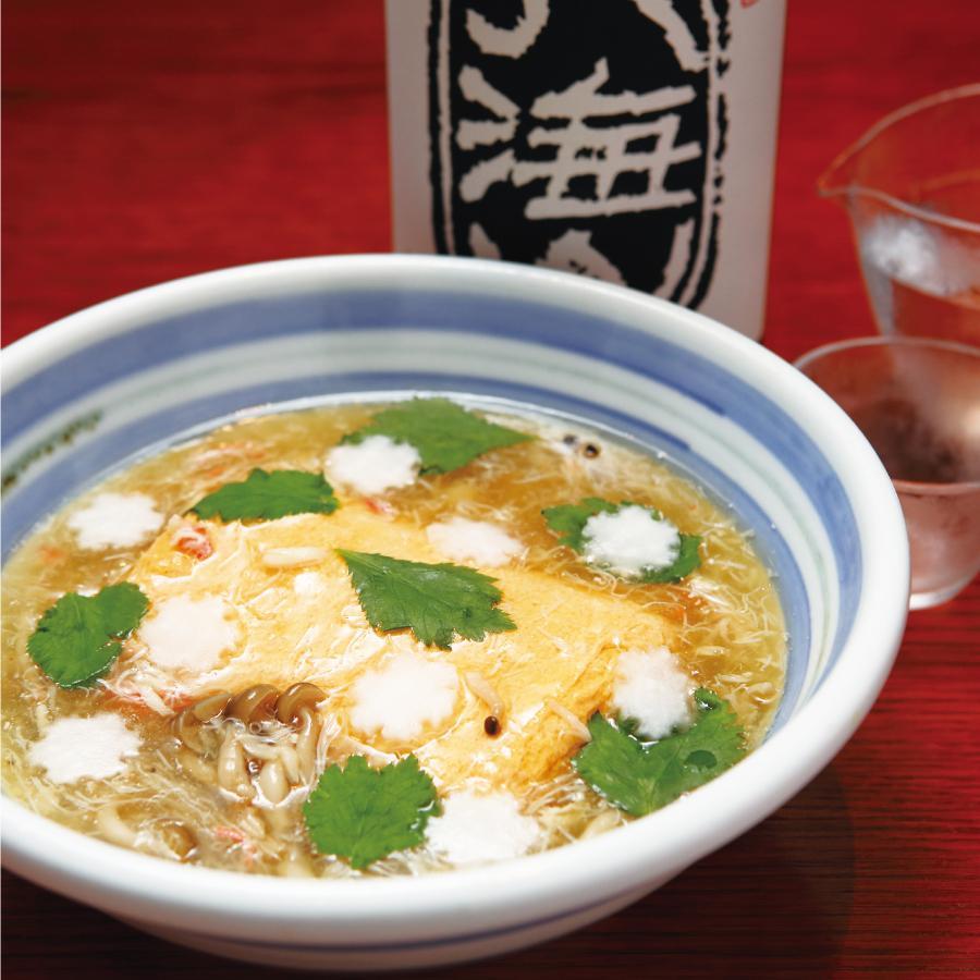 出し巻卵のカニ身あんかけ (日本酒セット)